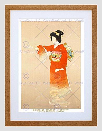 Wee Blauwe Coo Reizen Spoorweg Geisha Japan Jurk Fan Trein Kimono Omlijst Muur Art Print