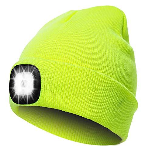 ANSUG LED Beanie Cappello Illuminato Uomo Donna, Lampada Frontale Calda a Mani libere Cappello da Corsa Notturno con luci Brillanti, luci Lampeggianti Rosse Blu per Campeggio, Passeggiate con Cani