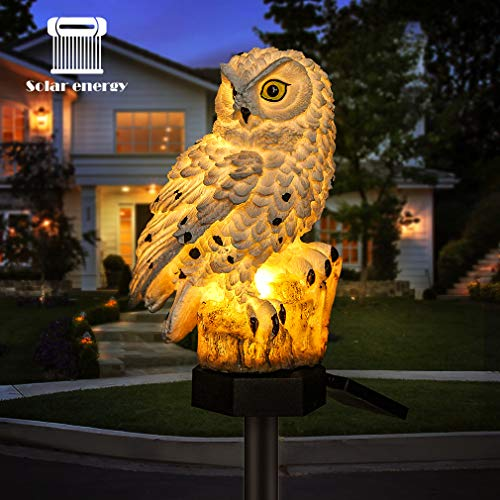 LED Solar-Gartenleuchte Flamingo Eule Rasen-Lampe, wasserdichte Solar-LED-Außenbeleuchtung, Nachtlicht, Deko, Haus, Garten weiß