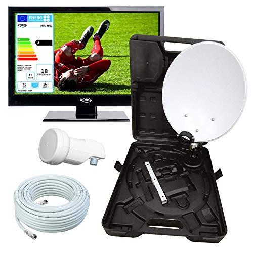 netshop 25 Wohnmobil Camping LED TV Fernseher 40 cm (16,5 Zoll) Xoro HTL 1560 + Camping SAT Koffer (HD, PVR Ready, Triple Tuner DVB S2 / T2 / C H.265 / HEVC-Decoder, 230V) 12V optional