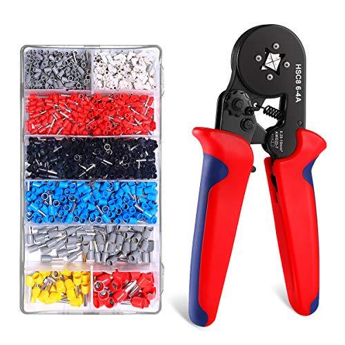 Crimpzange KINGTOP Aderendhülsenzange 0,25-10,00 mm² Crimpzange Set mit 1200 Aderendhülsen Kabelschuh Werkzeugsatz (Crimpzange)