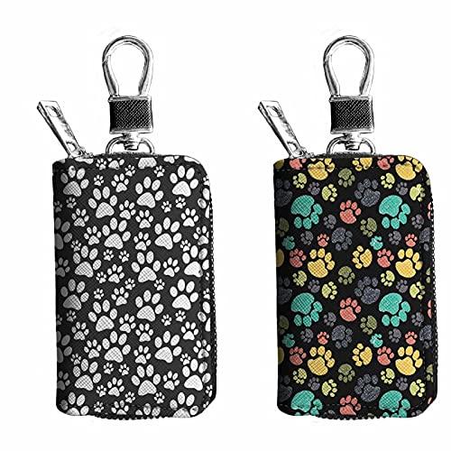 Pizding Starry Sky Car Key Chain Bag PU cuero Zip Holder mujeres/hombres 2 piezas