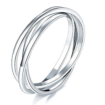 BORUO 925 Sterling Silver Ring Triple Interlocked Rolling High Polish Ring Size 10