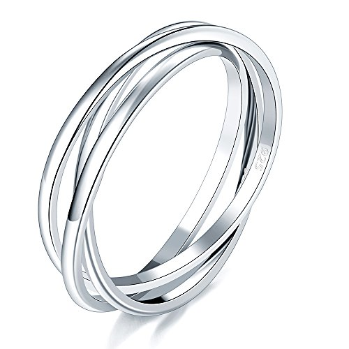 BORUO 925 Sterling Silver Ring Triple Interlocked Rolling High Polish Ring Size 8