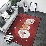 Alfombra de Salón de Pelo Corto de Diseño 3D,Santa Claus, Rojo...