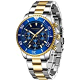 Watch,Mens Watch, Chronograph Waterproof Stainless Steel Luxury Date Analog Quartz Wristwatch for Men Gold Blue