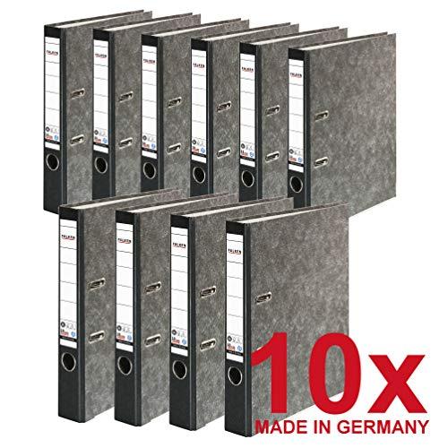 Original Falken 10er Pack Recycling-Ordner Wolkenmarmor. Made in Germany. 5 cm schmal DIN A4 schwarzer Rücken Ringordner Aktenordner Briefordner Büroordner Pappordner CO2-Neutral Blauer Engel