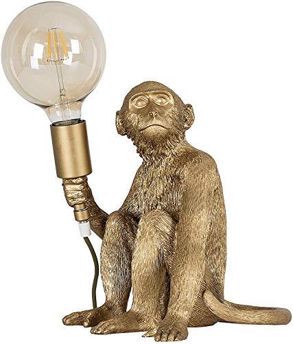 FGART Moderne Led Monkey Lamp,Harz Sitzender AFFE Kreative Acryl Begleitet Lampe Beleuchtung Studie Nachttischlampe,Durchmesser: 37 cm, Höhe: 42 cm,Gold
