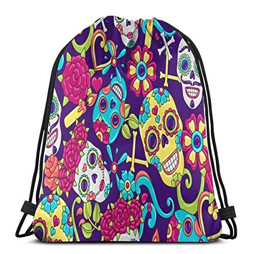 Light Ing Drawstring Bag Sugar Skulls String Backpack Portable Durable Gym Bag Soft Cinch Pack