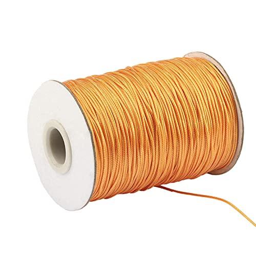 Uymaty Hilo Nylon de Colores,Cordón de nailon,Cordones de hilo de algodón encerado de 1mm,cordón de nailon satinado de 160m,hilo de abalorios,pulsera,joyería,fabricación de manualidades(naranja)