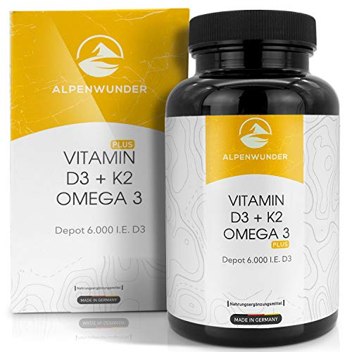 Alpenwunder Vitamin D3 und K2 + Omega 3 Fischöl Kapseln hochdosiert, 100{b568629a6f5e0f0151ad6f574da19affa83f9d9ad49c0a2168b2a8e474ae4e11} MADE IN GERMANY, 180 hochwertige Vitamin D3+K2 und Omega 3 Fischölkapseln, hergestellt gemäß DIN EN ISO 9001