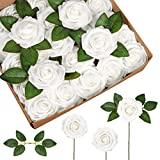 InnoGear Artificial Flowers, 50 Pcs Faux Flowers Fake Flowers White Roses Perfect for DIY Wedding Bouquets Centerpieces Bridal Shower Party Home Flower Arrangement Decorations