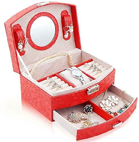 HUYAYUN Joyero Organizador Escaparate Lock Locker Caja de joyería de Cuero Caja de Viaje de Mano Joyero Caja de Almacenamiento Estante Seguro y Fuerte/Rojo