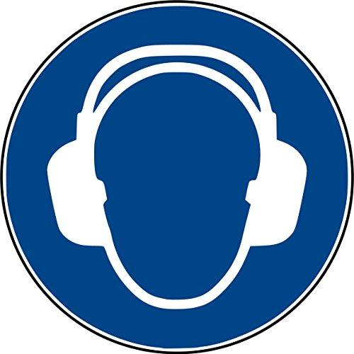 10 Aufkleber Gehörschutz benutzen Aufkleber (10 Stück) vorgestanzt selbstklebend Gehörschutz benutzen Gebotszeichen Warnzeichen Ohrenschutz-Aufkleber M003 Arbeitsschutz Ohr Ohren Aufkleber Gehör