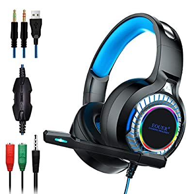 EOUER Stereo PC Gaming Headset with Microphone,...