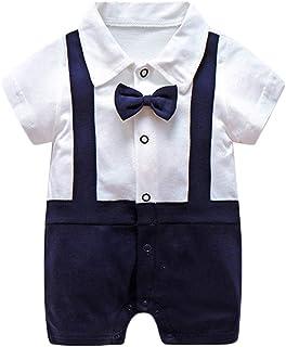 Anywow Neugeborenes Baby Jungen Gentleman Strampler Bodys Einteiler Formale Fliege Kragen Kurzarm Polo Anzug Kurz Overall Bodysuit 0-12M