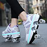 YXHUI Patines para mujer, LED Quad Patines Patines, Unisex Zapatos con Rueda, Kick Roller Zapatos Adultos, Deportes al aire libre Técnicos Skateboarding Shoe,Purple-EU36/UK3