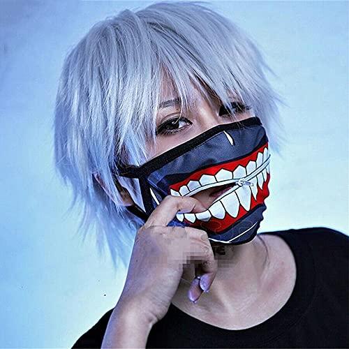 GOODKSSOP 2in1 Set Anime Kaneki Ken Tokyo Mask + Cosplay Hair Wig, Funny Zipper Full Face Halloween Mask Costume Prop for Themed Party Masquerade