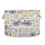 Cesta de almacenamiento para bicicletas Jumbear, diseño de flores redondas, grandes cestas de lona plegable para la colada, impermeable, capa interior con asas resistentes para niños, juguetes, guardería, ropa