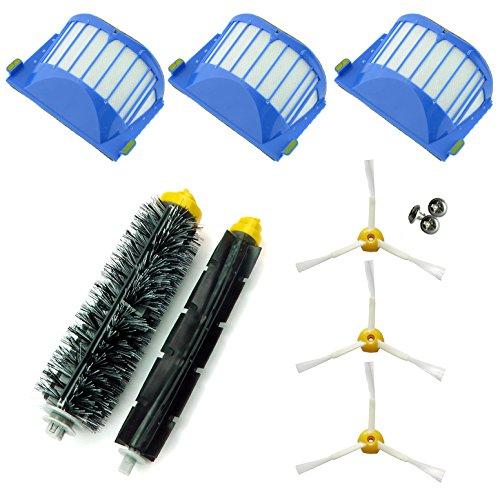 Asp-Robot® Kit de remplacement pour aspirateur robot Roomba 600/610/620/621/630/650/651/655/660/661/PET avec 3 filtres AeroVac, 3 brosses à 3 pales, 1 brosse centrale, 1 rouleau central et accessoires
