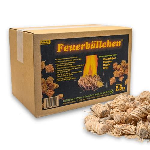 Feuerbällchen - das Original - zum Anzünden von Kachelofen, Kamin, Herd, Grill, Lagerfeuer - aus reinen Naturprodukten - unempfindlich gegen Nässe - Made in Germany - 2,5 kg Schachtel (ca. 200 Stück)