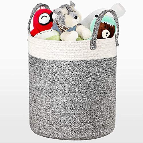 COSYLAND Tvättkorg med bomullsvajer tvättkorg TÜV-certifierad flätad korg filt korg förvaringskorg med handtag för filtar kuddar och leksaker vardagsrum golv barnrum S7
