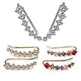 3 Pares Pendientes con orejeras 7 Pendientes de cristal Pendientes de aro Pendientes de escalada Pendientes de pun ¢ o de diamante de plata esterlina Pendientes de botón de oreja (3 pares)