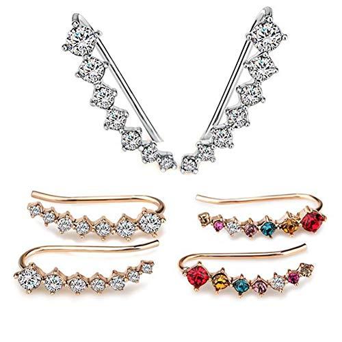 3Pairs Ear Crawler Orecchini 7 Crystal Ear Cuffs Hoops Orecchino rampicante Orecchini con diamanti in argento Orecchini ipoallergenici Ear Climber Giacche Orecchino