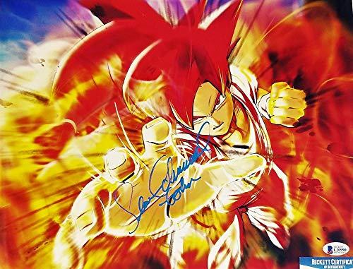 SEAN SCHEMMEL SIGNED METALLIC 11x14 PHOTO GOKU DRAGON BALL Z JSA COA 990