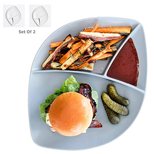 Porcelain Divided Dinner Plates Dinnerware Sets - 2 Large Platters For Adults - Amazing Hamburger Plate Collection Stone White
