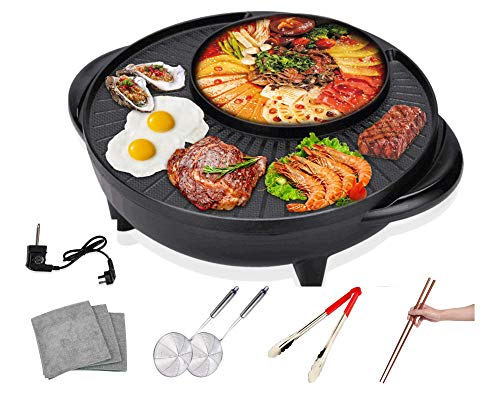 Soup N Grill Circular Edition Hotpot Grill Combo Indoor Korean BBQ, Shabu Shabu Electric Hot Pot with Divider, Portable with Free Strainer Scoops, Extra Long Chopsticks, Tongs, Cloths, Smokeless Grill