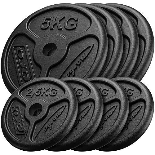 Marbo Sport Set di Pesi Sottili in ghisa 4 x 5 kg + 4 x 2,5 kg MW-4x5KG_4x2,5KG-Slim