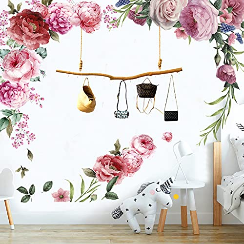 Adesivi Murali Fiori Peonia(4fogli da 30×90cm)Adesivi da Parete Romantico Adesivi Murali Rosa Peonia Fiore Decorazioni Murali Floreali Adatto per Camera Da Letto Soggiorno Parete di Fondo Tv (Pink)