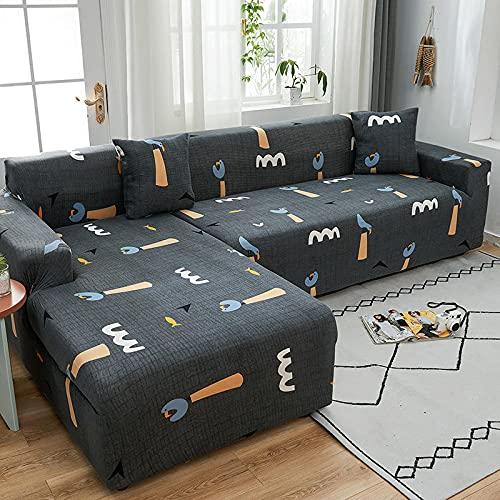 MKQB Funda de sofá elástica con Estampado Floral, combinación de Esquina en Forma de L, Funda de sofá Envuelta herméticamente Antideslizante para Sala de Estar NO.9 S (90-140cm