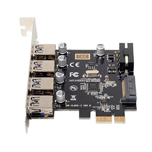 cablecc Adattatore scheda di espansione HUB PCI Express per scheda madre, 4porte PCI-E a USB 3.0, 5Gbps.