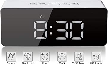 FIgment Digital LED Alarm Clock, Mirror Alarm Clock for Heavy Sleepers Kids Large LED Display with Snooze Time Temperature Function for Bedroom, Office, Travel - Battery Powered & USB Powered (White)
