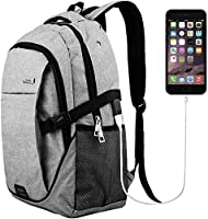 Laptop Backpack for Men Back Pack with USB Charging Port,Tech Notebook Lightweight Travel Backpack (Grey)