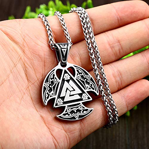 Men Viking Necklace, Unisex Stainless Steel Valknut Rune Amulet Retro Pendant Jewelry with 24Inch Chain