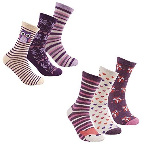 Cottonique Damen-Socken aus Baumwolle, Tierdesign, Größe 37–42 Gr. 37-42, 6 Pack Purple Muli