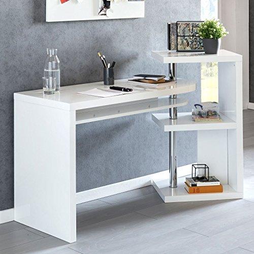FineBuy Design Schreibtisch Maurice 145x50x94 cm Bürotisch mit Regal Weiß Hochglanz | Winkelschreibtisch Schwenkbar Massiv | Computertisch mit Ablage | Chefschreibtisch mit Ordnerregal Modern