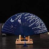 iSmile Style Hand Held Folding Dance Fan Wedding Party Lace Silk Folding Hand Held Flower Fan Summer Wedding Fan Party,Dark Green,China