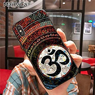 Colorful Manadala Om iPhone 6 PLUS SIZED Case, BIGGER SCREEN Hindu Mantara Aum Yoga 6S PLUS Cover Religious Symbol Meditation Geometric Floral Art Stylish Protective Shockproof Ultra Thin Soft, TPU