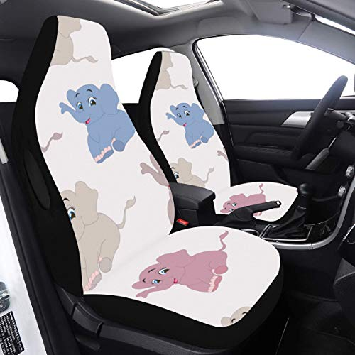 Why Choose Baby Girl Car Seat Covers Cute Elephant Baby Cartoon Luxury Seat Covers 2 Pcs Universal F...