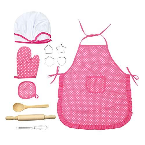 Feoya 11 delantales de cocina para nios y nias, gorro de cocinero, juguete de cocina, resistente al agua, delantal, manopla de horno, batidor, disfraz de chef, color rosa