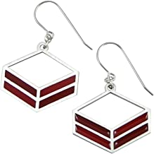 product image for Modern American Made Stainless Steel Earrings, Red Rhombus