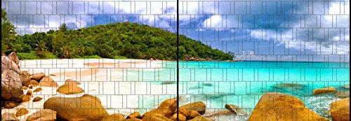 Riesen Panorama Zaun - bedruckte Sichtschutzstreifen für Doppelstabmattenzaun mit großen Panorama Motiv (XL (2 Zaunfelder), Lagune 2)