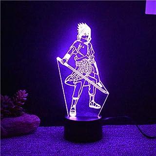 luz de noche 3d 7 colores cambiantes led 3d Uchiha Sasuke lámpara de mesa de modelado Anime decoración del hogar accesorio de luz Kids Sleep Bedside Naruto Night Light