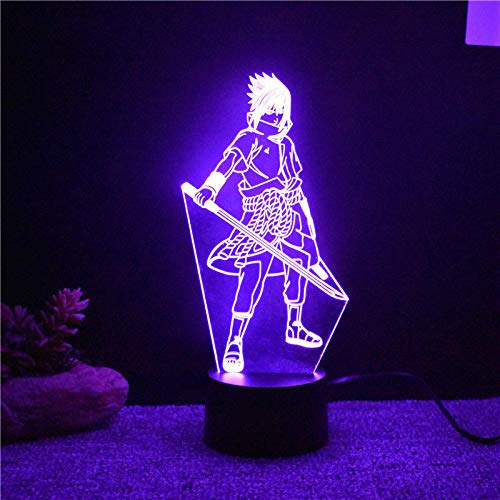 3D Night Light 7 Colors Changing Led 3D Uchiha Sasuke Modelling Table Lamp Anime Home Decor Light Fixture Kids Sleep Bedside Naruto Night Light
