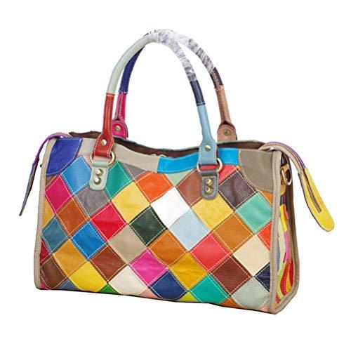 Bolso de hombro de cuero multicolor para mujer Hobo Tote Bolso cruzado, (Colorido-B), Medium
