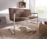 DELIFE Essbank Earnest Braun Vintage 140 cm mit Armlehne Gestell Edelstahl Sitzbank